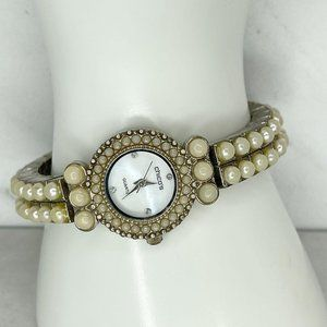 Chico's Silver Tone Faux Pearl Studded Band Watch Needs Battery